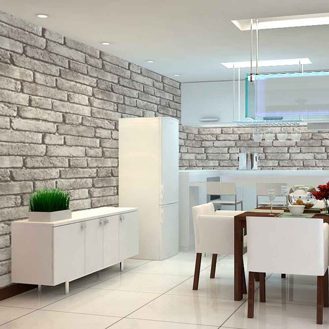 HaokHome Vintage Faux Brick Wallpaper Rolls Grey Black Stone 3D Realistic Paper Murals Home Bedroom