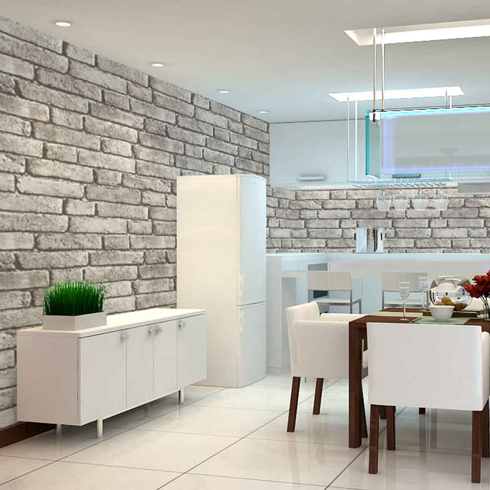 Realistic 3d illustration of modern wooden bookshelf against ston - Haokhome Vintage Faux Brick Wallpaper Rolls Grey Black Stone 3d Realistic Paper Murals Home Bedroom