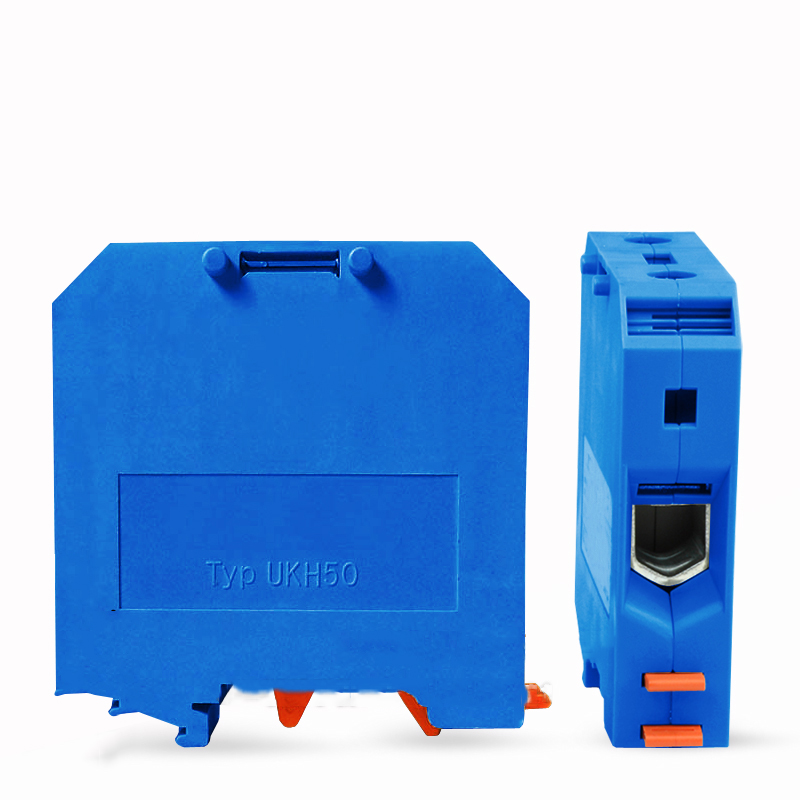10pcs 50pcs 100pcs Blue UK50N Din Rail Electrical Conductor Terminal Connector UK-50N Wire Cable Terminal 50pcs uk5 twin uk5rd 4mm2 din rail screw clamp fuse terminal blocks connector