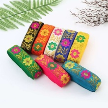 New Ethnic Lace Ribbon National Style Jacquard Gold Leaf Clothing Accessories Fabric Costumes Embroidered Garment Webbing