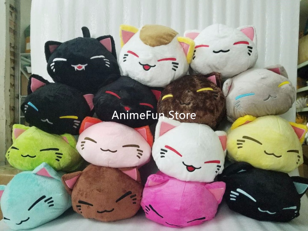 28 CM Cartoon Nemuneko Rose Serie Sovkatt Soft Plush Doll Toys Kawaii Neko Cat Animal Pillow Gratis frakt