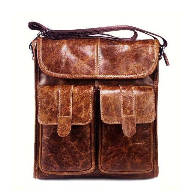 55a863e153 Genuine Leather Men bags Fashion Brand Designer Handbags Shoulder Vintage  Retro Cow Bags Men Messenger Bags Briefcase NB069
