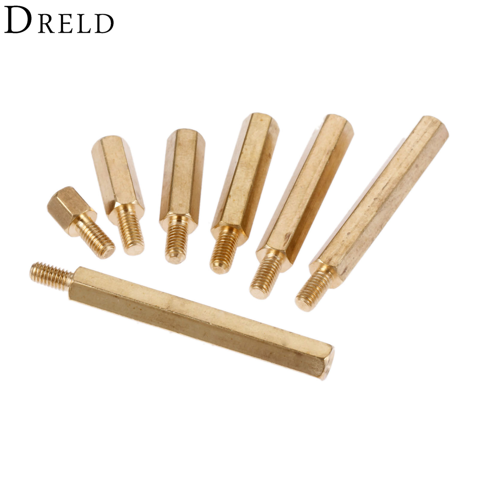 DRELD 10Pcs M3 Male Hex Hexagonal Brass Pillars Standoff Spacer M3 12+6/15+6/20+6/25+6/30+6/35+6MM Stud Spacer Hollow Pillars 100pcs m3 nylon black standoff m3 5 6 8 10 12 15 18 20 25 30 35 40 6 male to female nylon spacer spacing screws