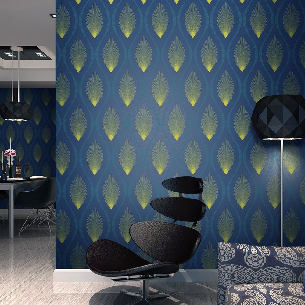 Modern luxury 3d wallpaper roll mural blue silver wall for 3d wallpaper for home decoration