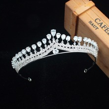 hot deal buy luxurious zircon princess bridal tiara crown bride headbands women prom diadem hair ornaments wedding hair jewelry accessories