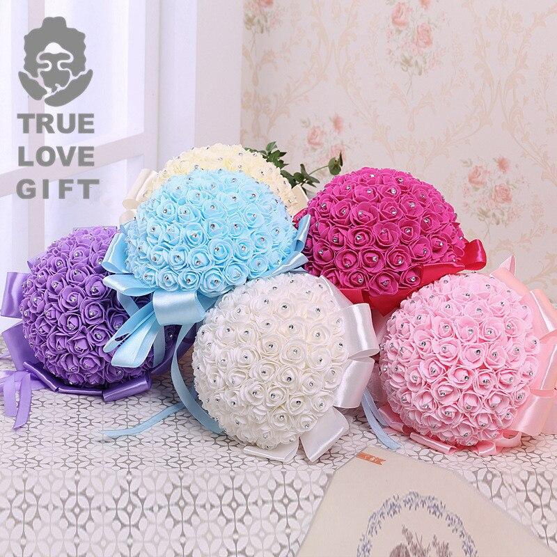 Romantic Artificial Wedding Bouquets Rose Wedding Foam Flowers Bridal Bouquets 2018 Cheap Wedding Bridal Bouquet De Noiva