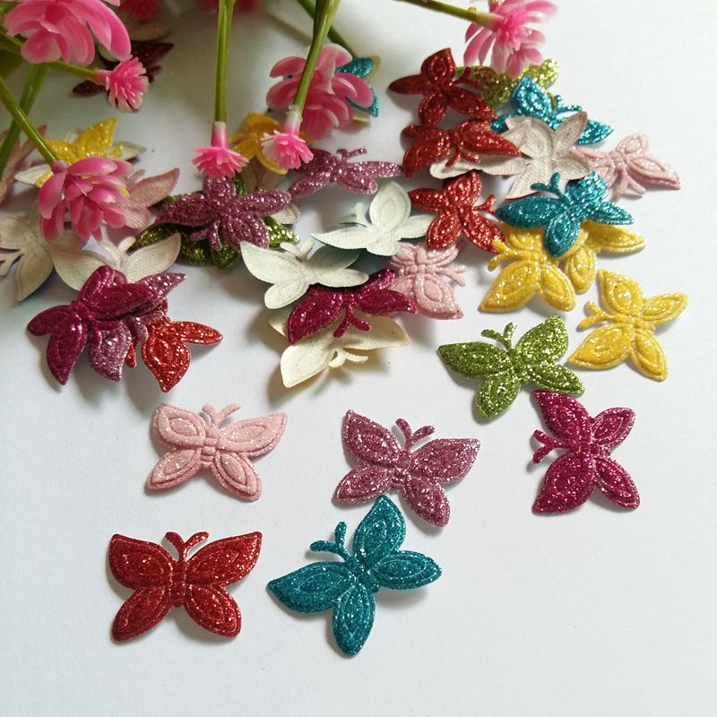 50pcs/lot Random Mixed Colored Glitter butterfly patches applique Felt scrapbooking sticker DIY Felt Pads ...