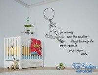 Manchmal sogar die kleinsten dinge Winnie the Pooh Ballon Zitieren Große Wandaufkleber Wandtattoo Vinyl Kunst größe 86X76 cm