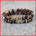 2pcsgold and Silver Skull Bracelets,Mix color Black Gray White Agate Stone Beaded Energy Elastic Men's Bracelet