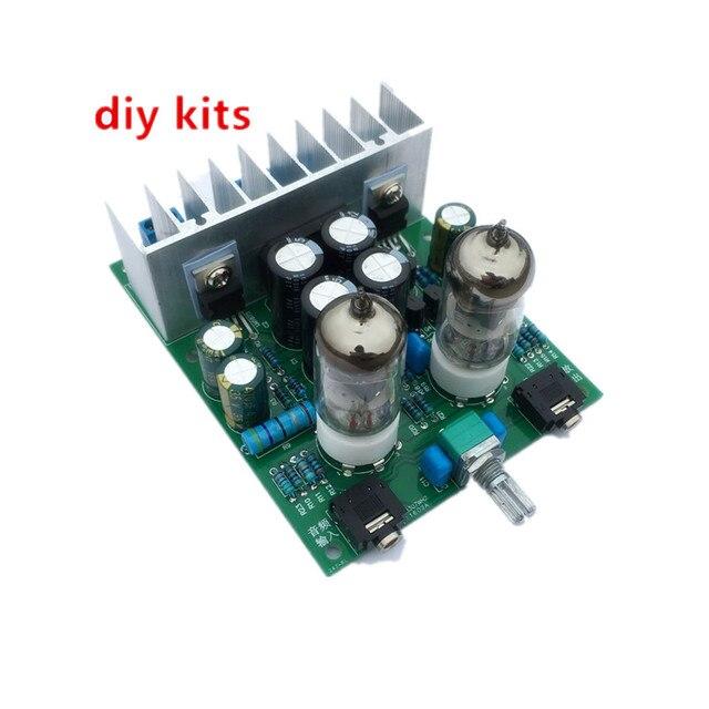 Diy kits HIFI 6J1 tube amplifier Headphones amplifiers LM1875T power amplifier Board 30W preamp bile buffer