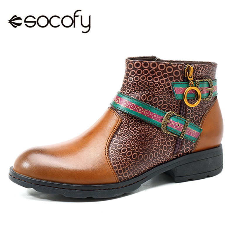 Socofy Vintage Handmade Boots Women Printed Splicing Genuine Leather Ankle Boots Women Shoes Spring Fall Buckle Zipper Botas New