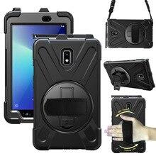 Für Samsung Galaxy Tab Aktive 2 SM T395 SM T390 Fall 360 Rotierenden Griff mit Hand Strap Neck Strap, stoßfest Schutz Abdeckung