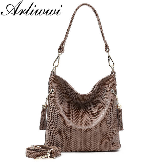 Arliwwi Brand Designer New Real Leather Shiny Snake Pattern Embossed Female Shoulder Bags High Quality Women