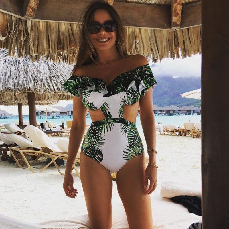 Baño de una pieza traje de baño Sexy mujeres 2017 verano Beach Wear traje de baño Backless Halter Top Monokini Bodysuit