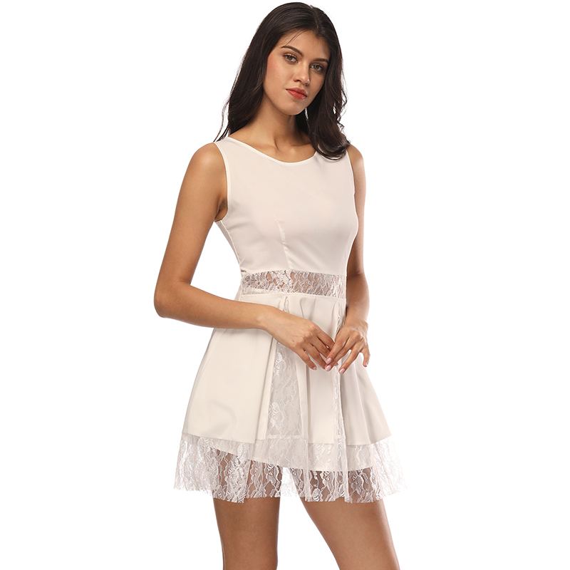 O Neck Padded Backless White Lace Patchwork Dress Lined Summer Dress Women Sundress Sexy Hollow Out Party Dress Vestido