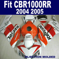 7gifts Injection fairing sets for Honda 2004 2005 CBR 1000RR CBR1000RR 04 05 CBR1000 RR white orange repsol body fairings parts