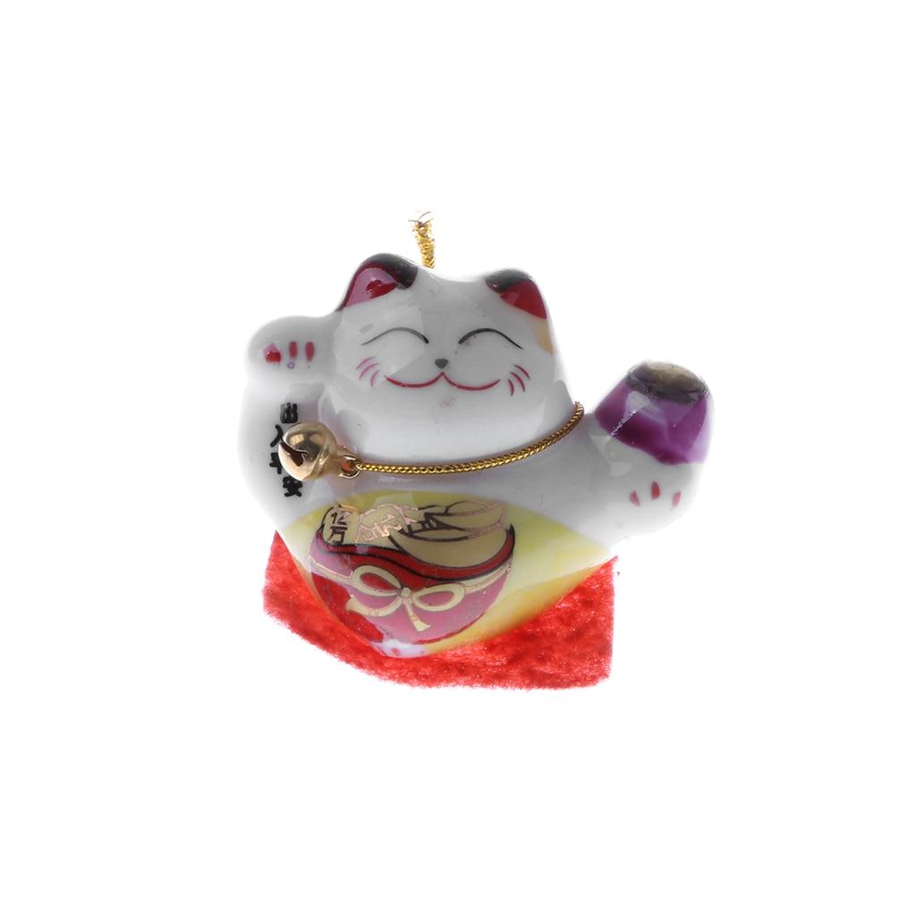 Smiling Ceramic Fortune Cat Kitten Animal Model Toy Home Office Ornament #C