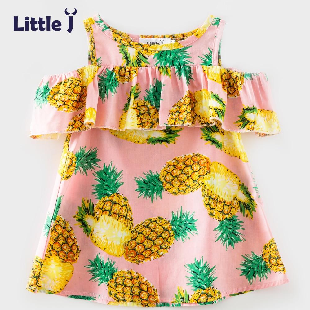 Mädchen Rosa Ananas Gedruckt Volant Layered Kleid Kinder Süße ...