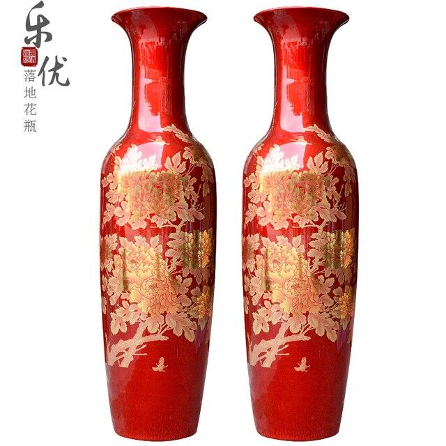 Jingdezhen keramik kristall farbe rot gold pfingstrose vase ...
