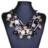 2018 Новый себе бренд ювелирных изделий Золотой Трубки черный ожерелье с бусинами Многослойные дизайн Для женщин Ожерелья с жемчужинами NK25