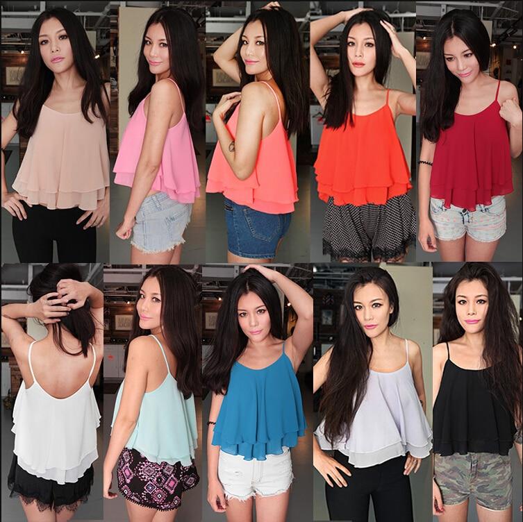 2019 Summer Double ruffles Blouse Spagetti Strap Vest Tops,plus size S -  5XL 6XL blusas vestidos,sexy chiffon vest ,girl shirts