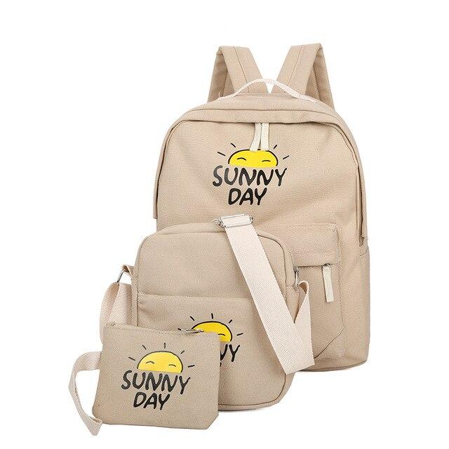 AEQUEEN 3Pcs Set Canvas Backpack Women Cute Printing Backpacks For Teenage  Girls School Bags Computer 9e031b5b108fa