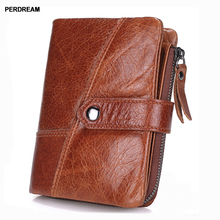 New men's short wallet first layer leather men's bag leather handbag zipper coin holder vertical section все цены