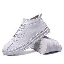 2019 Spring Men's New White Shoes Autumn Korean Joker British Leather Leisure Tide high top Vulcanize Shoes Yasilaiya