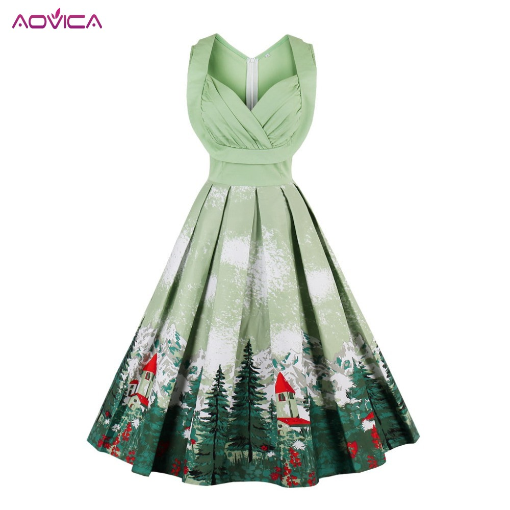 3abd31884e Aovica christmas vintage dresses floral print style cute blue party women  dress high-waist summer