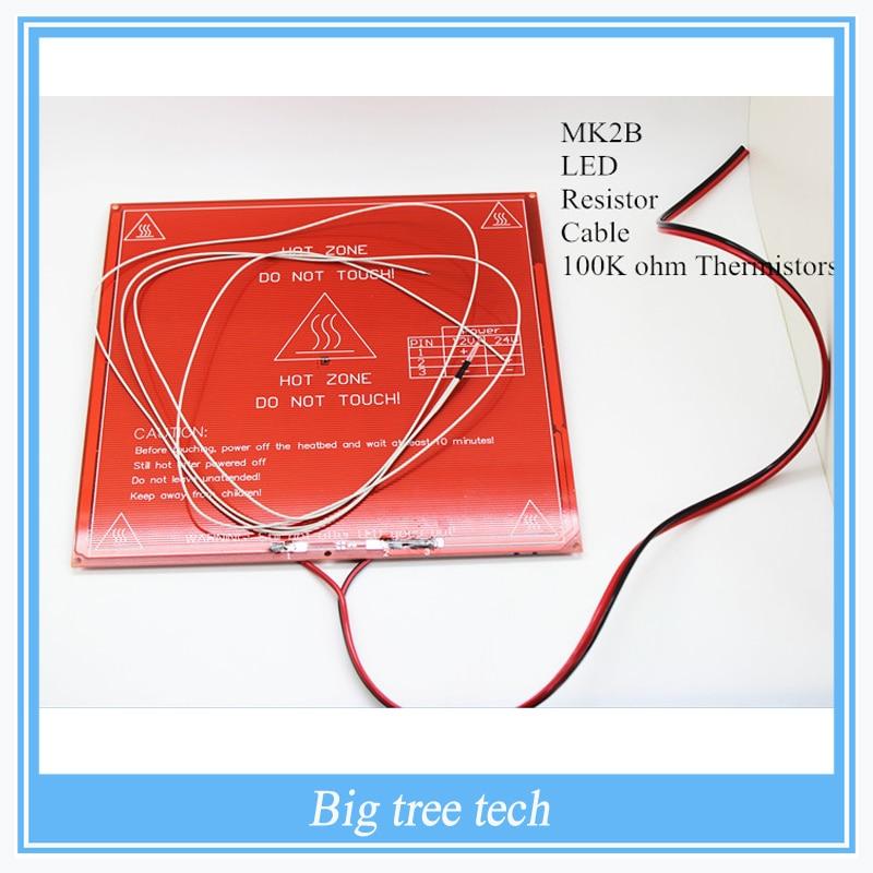 3D принтер части MK2B Heatbed + из светодиодов + резистор + кабель + 100 К ом термисторы печатной платы с подогревом кровать с тремя цвет