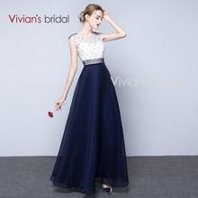 Vivian der Braut Robe de Soiree Lange Abendkleid Marineblau Perlen Abendkleid Vestido de Festa