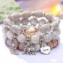 MINHIN, дизайн, 3 слоя, бисерный браслет, серебряный слон, подвеска, браслет на цепочке, свадебные украшения, Ретро стиль, женский браслет
