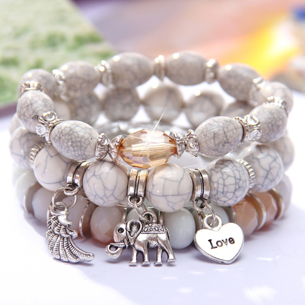 MINHIN New Design 3 Layers Beaded Charms Bracelet Silver Elephant Pendant Chain Bracelet Wedding Jewelry Retro Female Bracelet