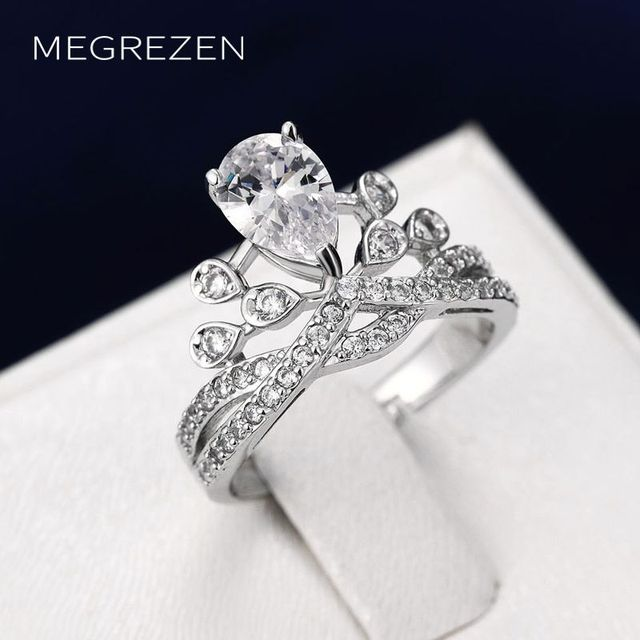 Megrezen Charm Engagement Ring Queen Crown Las Adjule Circonia Wedding Rings Silver Jewelry Accesories Women