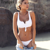Trangel Brand Bikini Sexy Women Swimwear Solid Color Bikini Set V Neck Swimsuit Adjustable Bottom Sport
