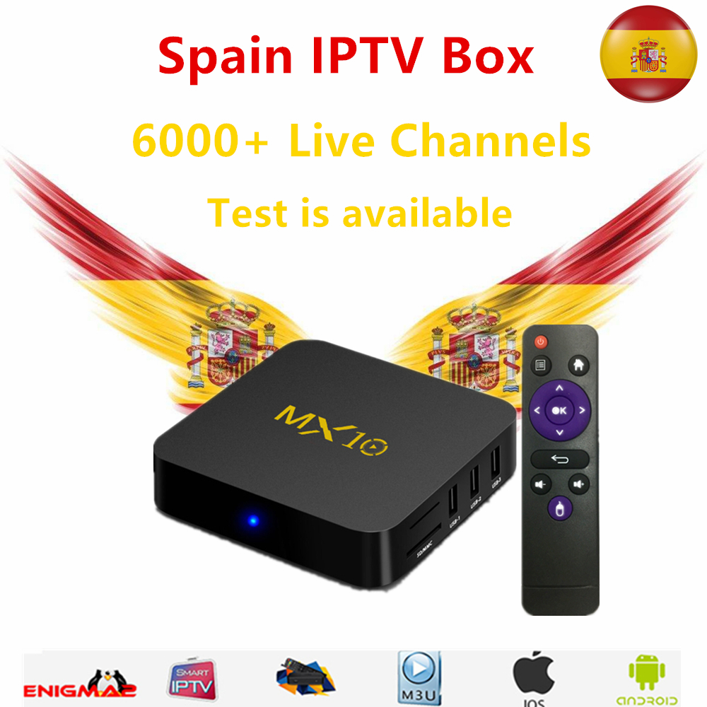 Best IPTV Box MX10 Android TV Box 8.1 4GB/32GB With 1 year iptv subscription Spain French Sweden Dutch Live TV for smart tv box