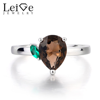 Leige Jewelry Natural Smoky Quartz Ring Party Ring Pear Cut Brown Gemstone Solid 925 Sterling Silver Romantic Gifts for Women