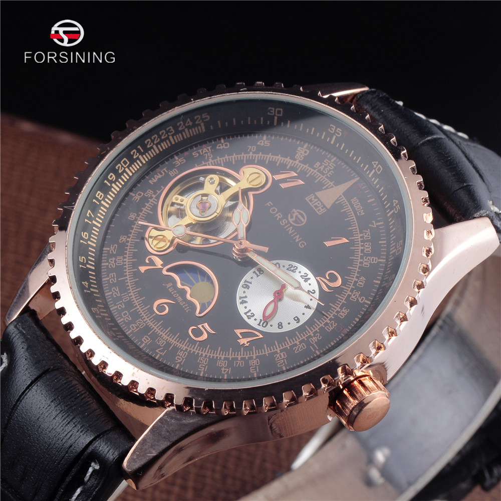 Luxury Brand FORSINING Tourbillon Watches Men Stylish Leather Strap Fashion Automatic Watches Waterproof Gold Mechanical Watch forsining tourbillon designer month day date display men watch luxury brand automatic men big face watches gold watch men clock
