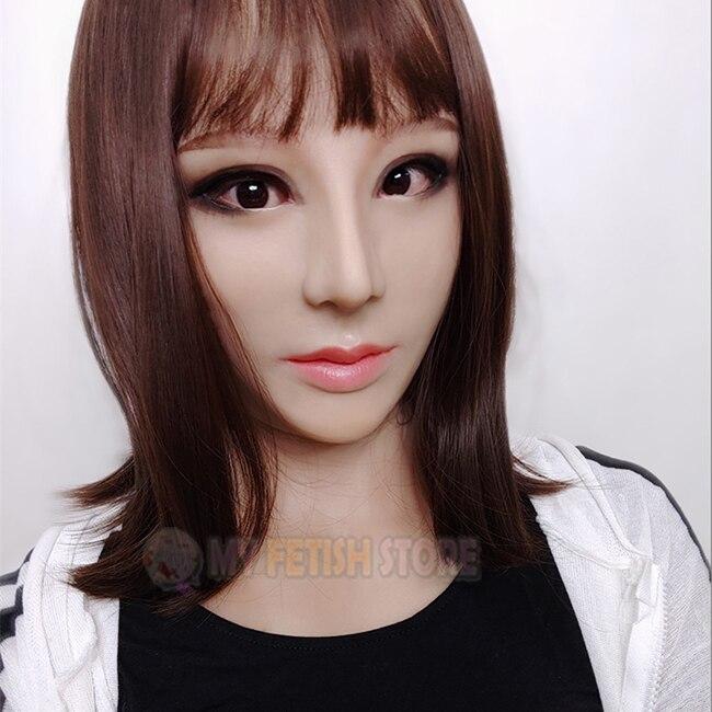 (Haene +) réaliste visage humain Crossdress Silicone pleine tête avec cou femme visage Kigurumi Cosplay DMS masque Crossdresser poupée