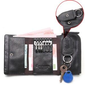 Image 3 - İletİşİm hakiki deri erkek anahtar cüzdan küçük erkek çanta ile sikke cep anahtarlık adam çantası kahya yüksek kaliteli anahtarlık