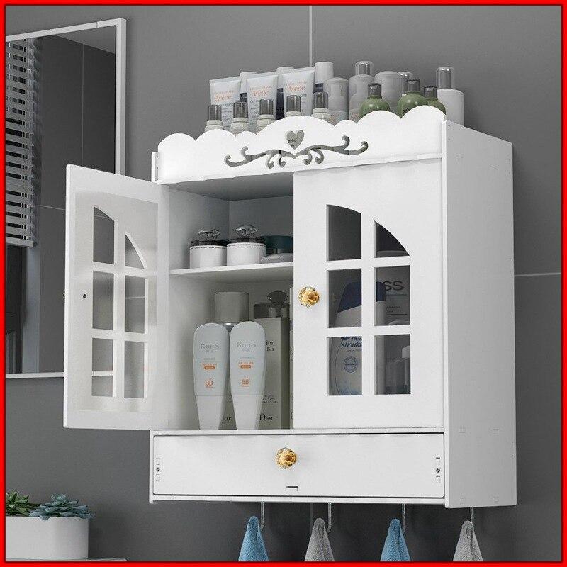 Organisateur de stockage d'armoire à pharmacie en bois d'armoire de salle de bains de bâti de mur avec le crochet