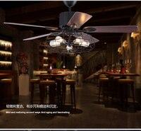 Loft industrial E27 fan chandelier vintage restaurant quiet home LED remote control fan chandeliers with light