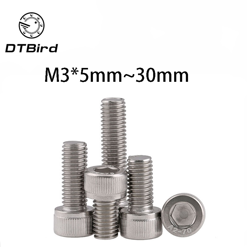 1pc 201 Stainless Steel Cylindrical Hexagon Socket Head <font><b>Screw</b></font> GB70/DIN912 Cup Head <font><b>Screw</b></font> <font><b>M3</b></font>*<font><b>5mm</b></font>-30mm image