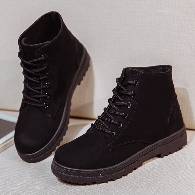 2018 Women s Autumn and winter Shoes Brand Martin Boots Women Cute Boots  Quality Work Boots Flat Heel Ankle Boots for Women 3db642791