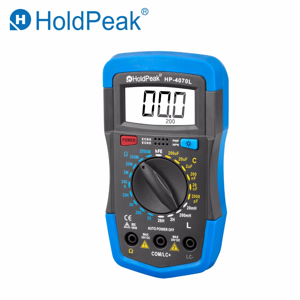 купить HoldPeak HP-4070L Digital Multimeter Resistance Tester Capacitance Meter Inductance Test LCR Meter hFE Tester with Back Light по цене 1491.19 рублей