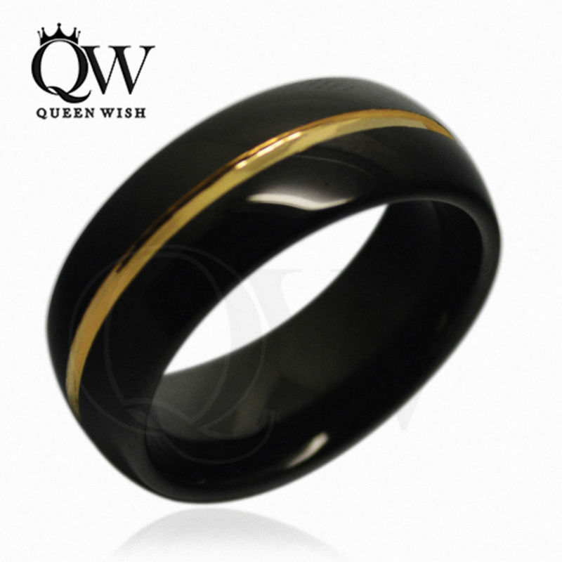Queenwish 8mm Gold Black Dome Tungsten Carbide Wedding Bridal Band Men  Jewelry Ring Women Engagement Ring In Rings From Jewelry U0026 Accessories On  ...