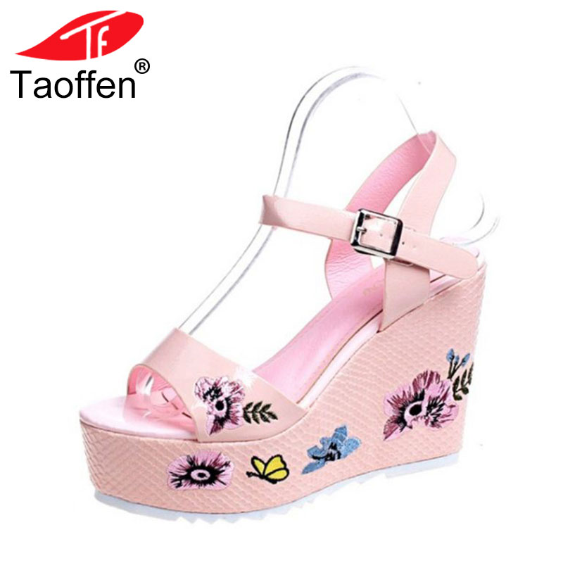 TAOFFEN Women High Heel Sandals Platform Buckle Open Toe Print Ladies Sandals Elegant Ornate Party Wedding Shoes Size 35-39 taoffen women high heel sandals open toe pleated concise slippers solid color shoes women footwear summer party size 34 39