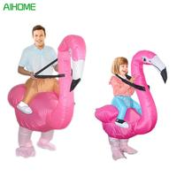 New Adult Children Flamingo Costume Halloween Party Fancy Dress In Carnival Party Cosplay Flamingo Emoji Jumpsuit Clothing