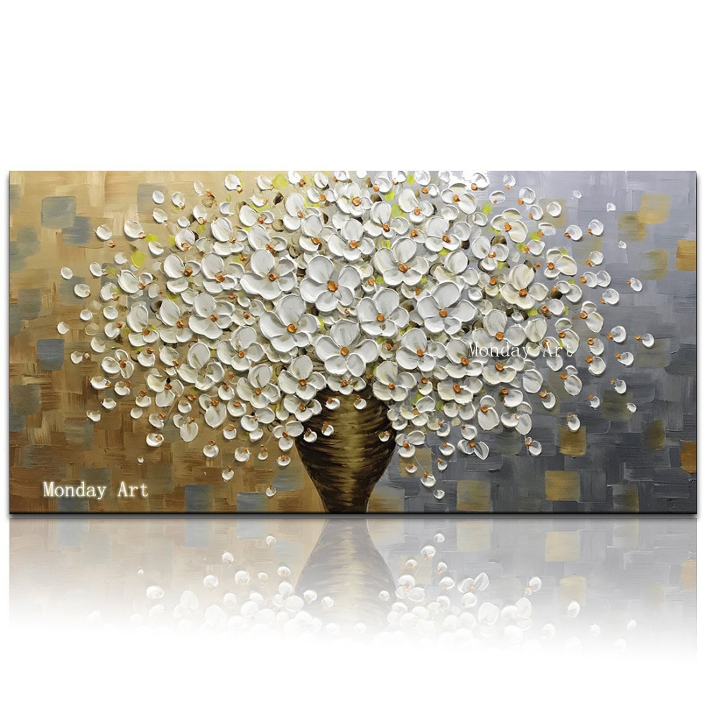 Modern Handpainted Large Gold Money Tree Flower Oil Painting On Canvas Abstract Home Wall Decor Art Picture For Living Room Gift