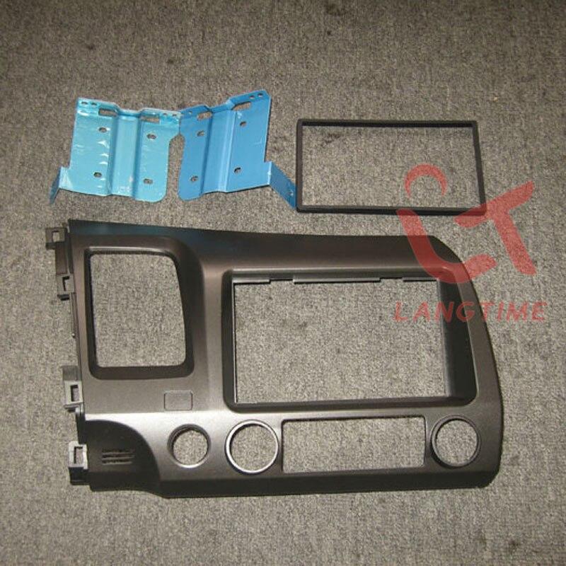 Livraison gratuite-Kit de tableau de bord de panneau DVD de cadre DVD de réaménagement de voiture Fascia pour 07-2011 Honda Civic, 2DIN (main gauche, avec trou SRS)